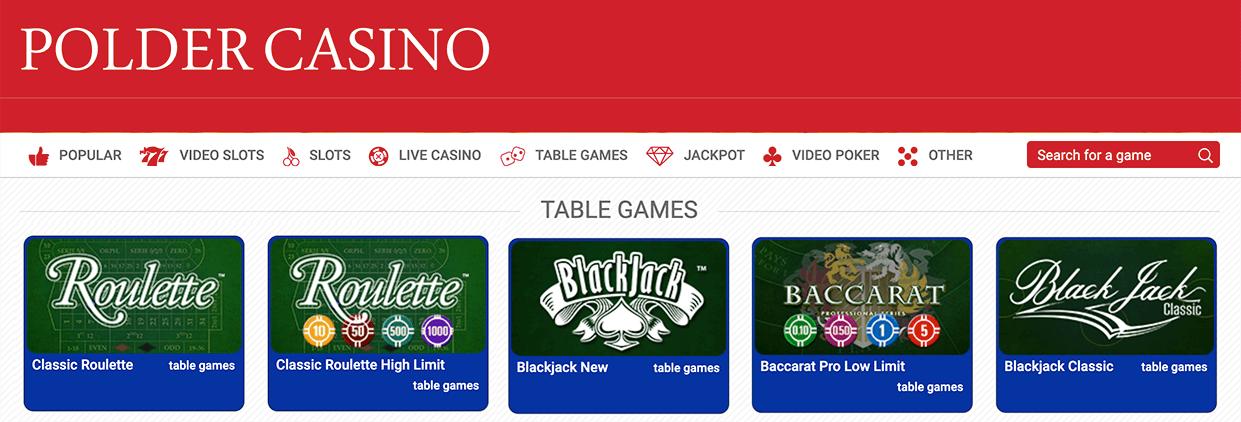 Kom gokken bij de tafelspellen in Polder casino