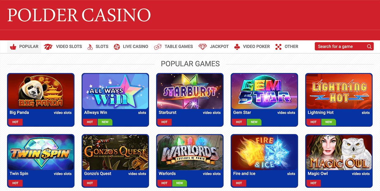 Ontdek bij Polder de beste casino spellen